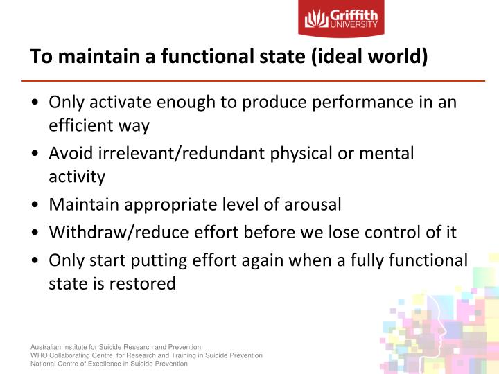 To maintain a functional state (ideal world)
