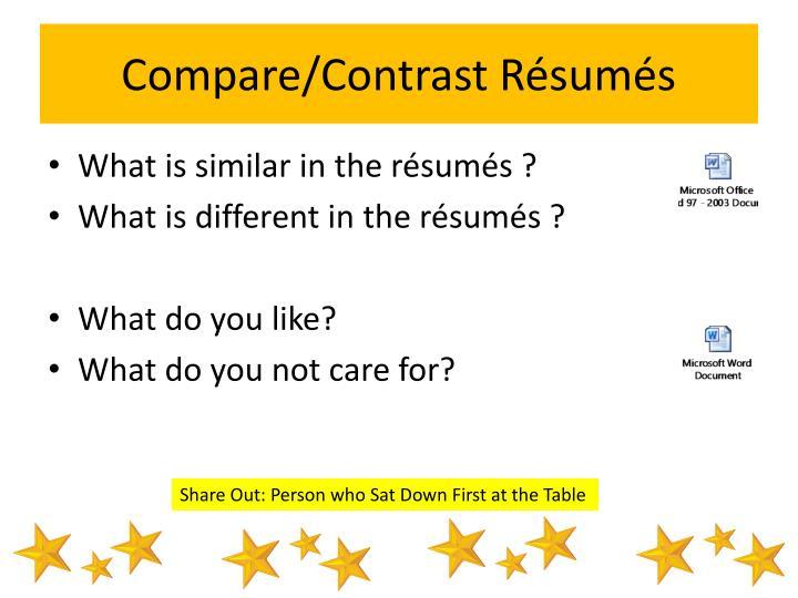 Compare/Contrast Résumés