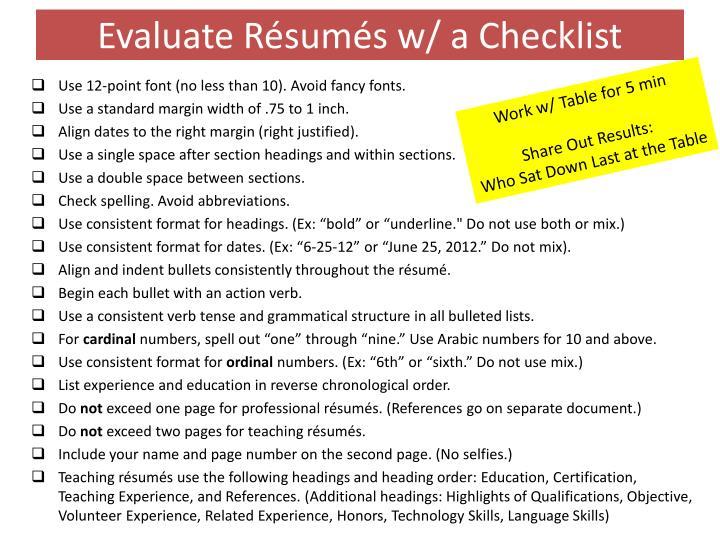 Evaluate Résumés w/ a Checklist