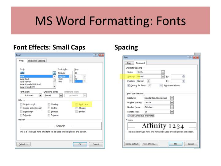 MS Word Formatting: Fonts