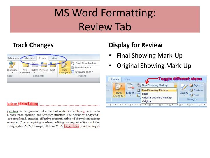 MS Word Formatting: