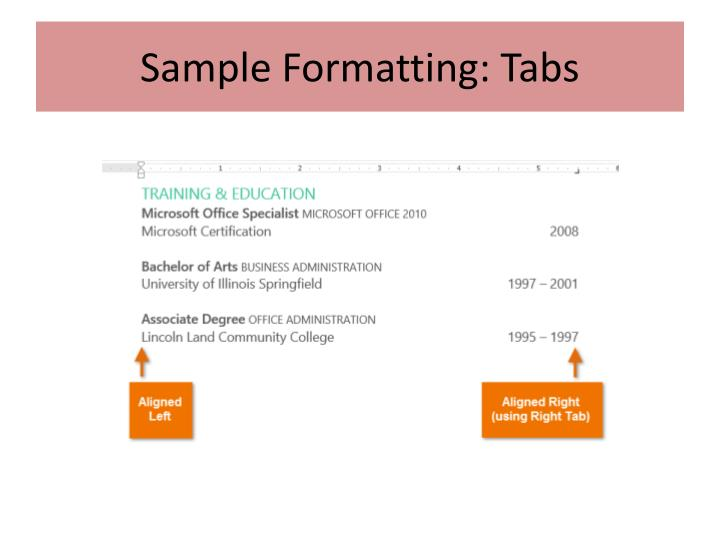 Sample Formatting: Tabs