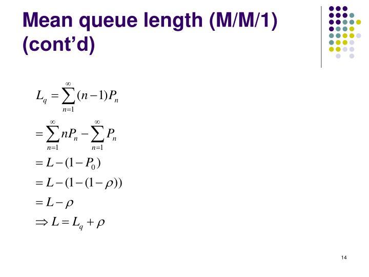 Mean queue length (M/M/1) (cont'd)