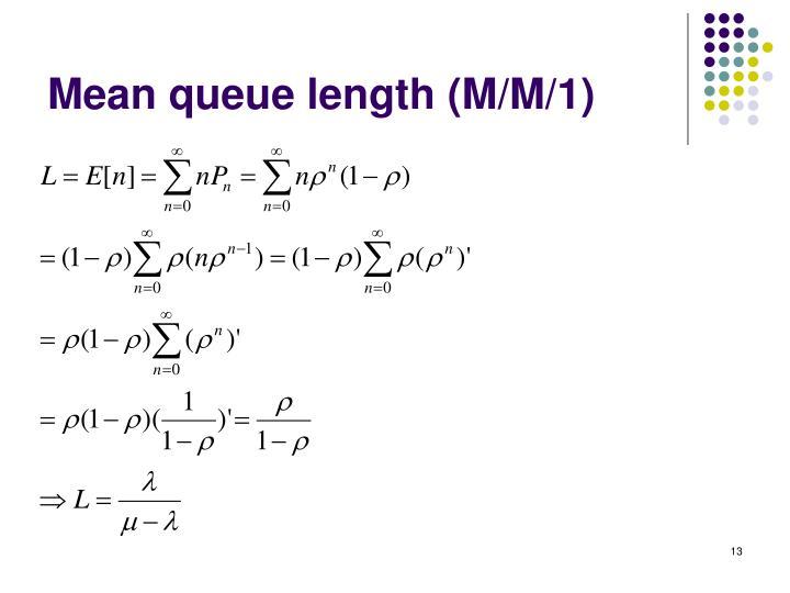 Mean queue length (M/M/1)