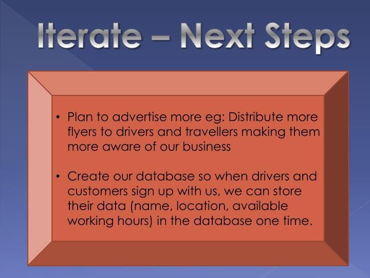 Iterate – Next Steps