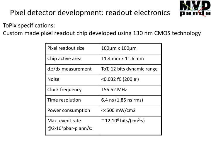 Pixel detector development: readout electronics