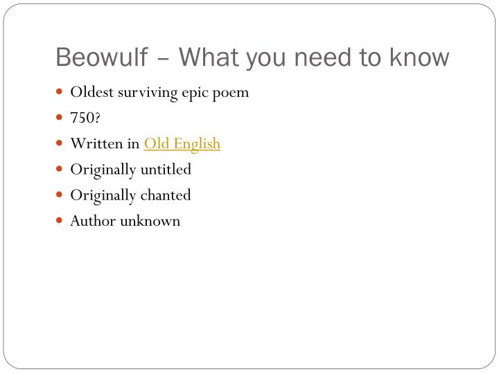 Beowulf – What you need to know