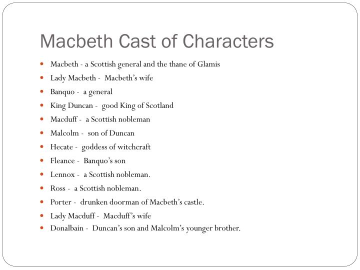 Macbeth Cast of Characters