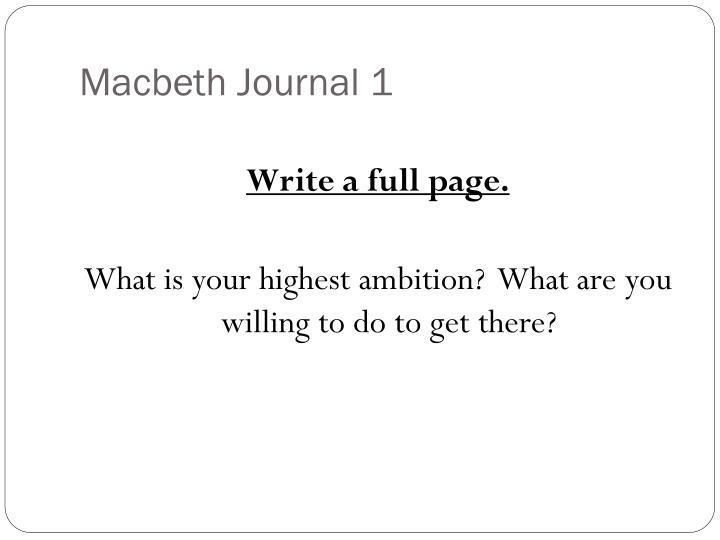 Macbeth Journal 1