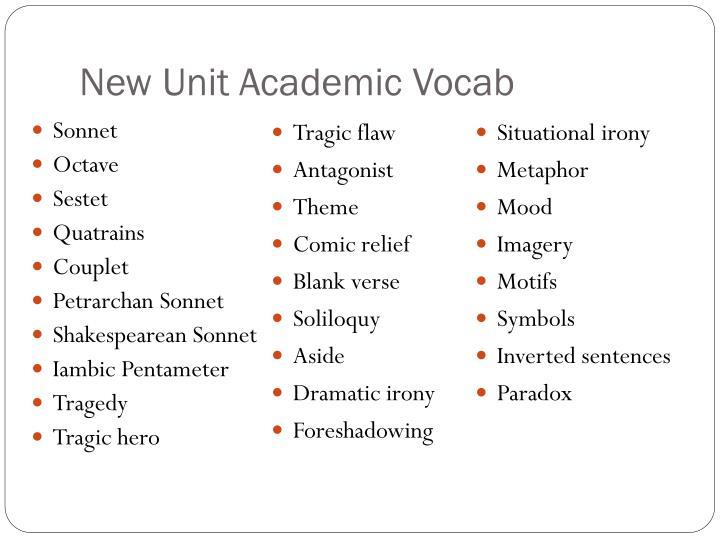 New Unit Academic