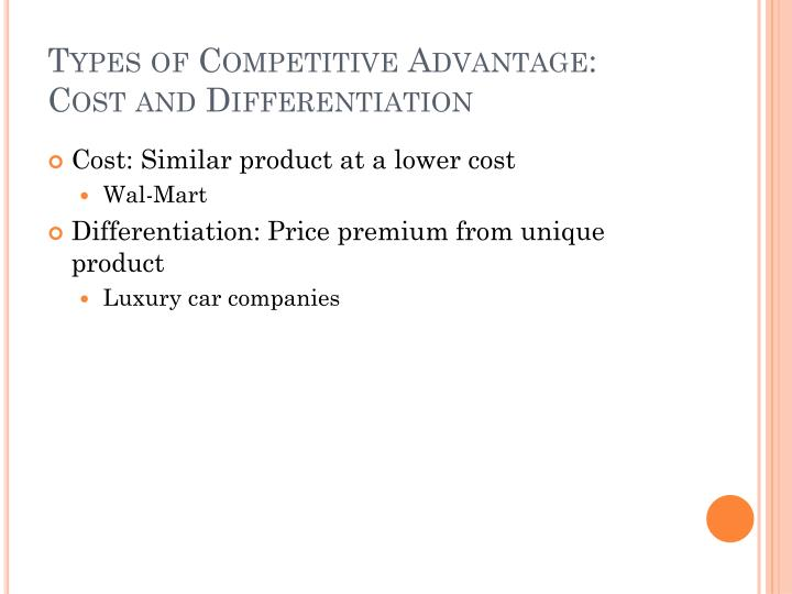 Types of Competitive Advantage: Cost and Differentiation