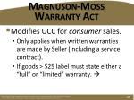 magnuson moss warranty act
