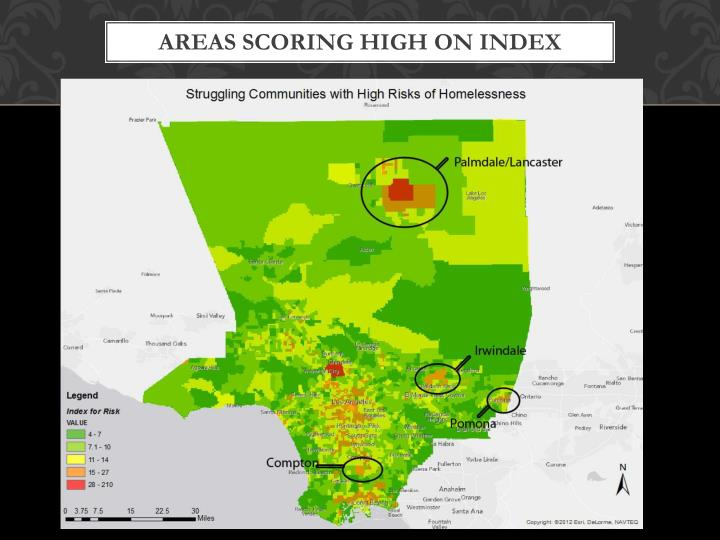 Areas Scoring High on Index