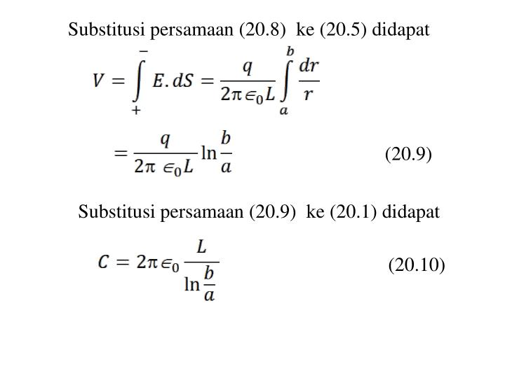 Substitusi persamaan (20.8)  ke (20.5) didapat