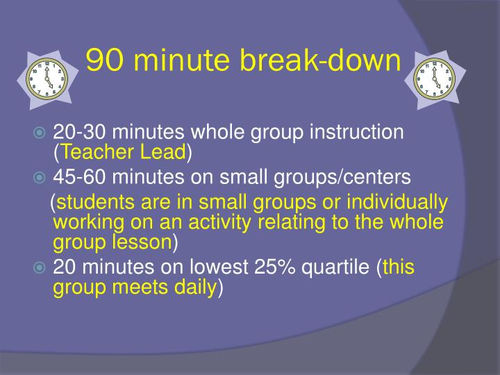 90 minute break-down