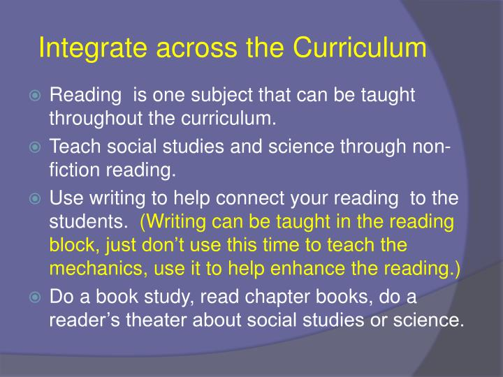 Integrate across the Curriculum