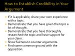 how to establish credibility in your argument