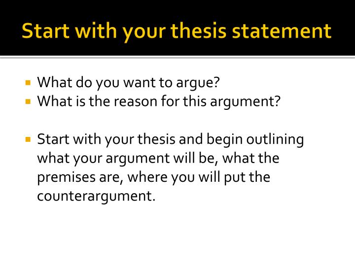 Start with your thesis statement