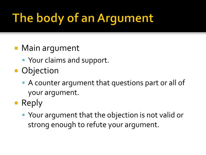The body of an Argument