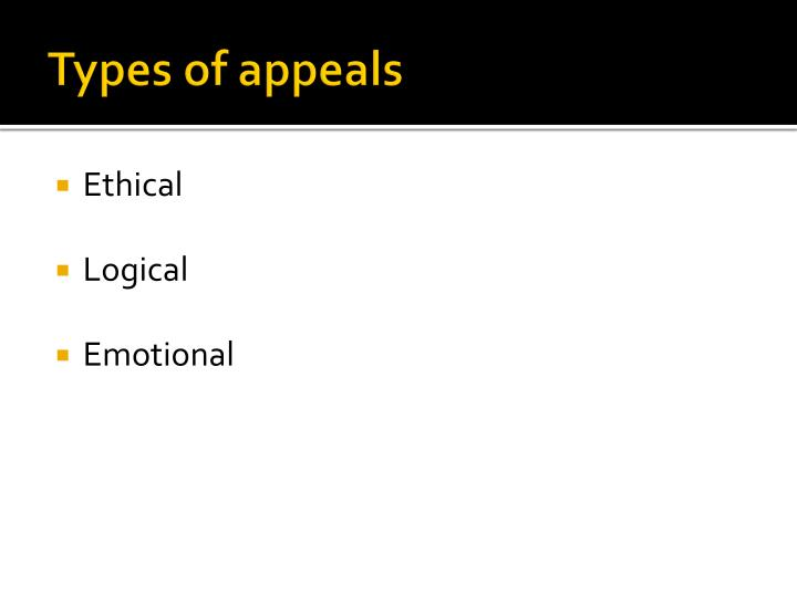 Types of appeals