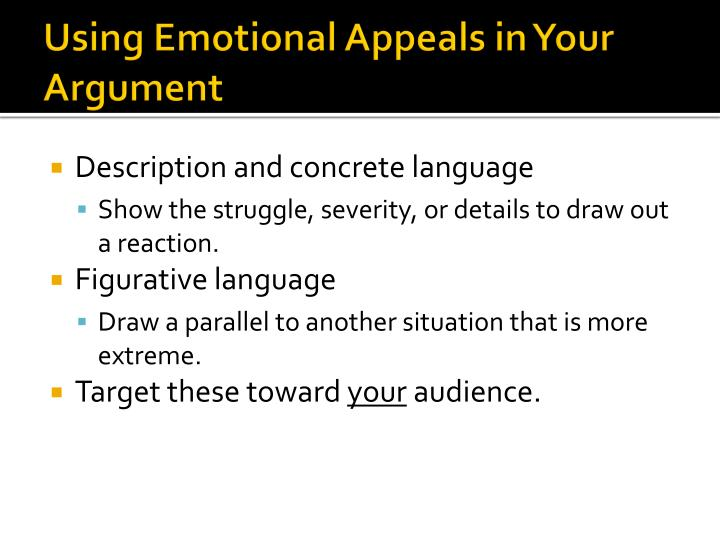 Using Emotional Appeals in Your Argument