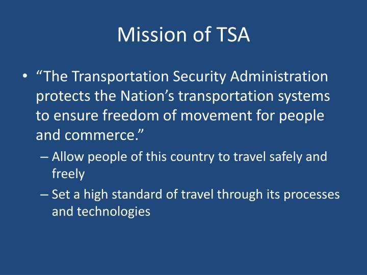 Mission of tsa