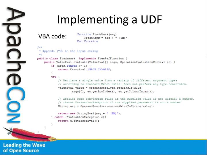 Implementing a UDF