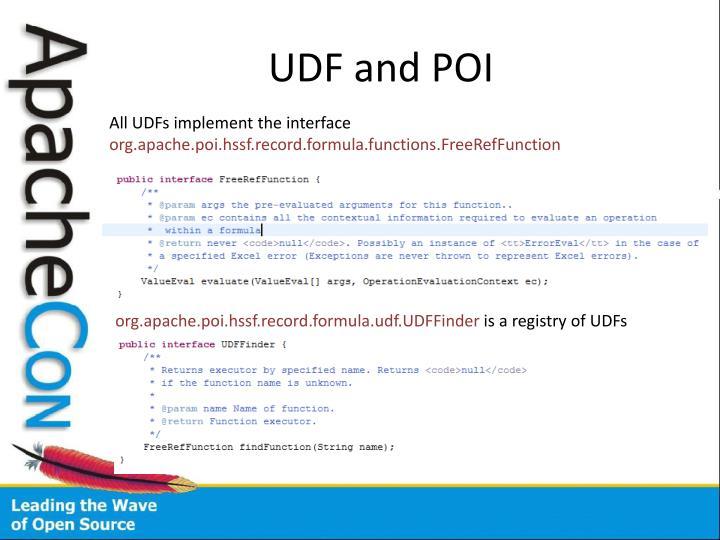 UDF and POI