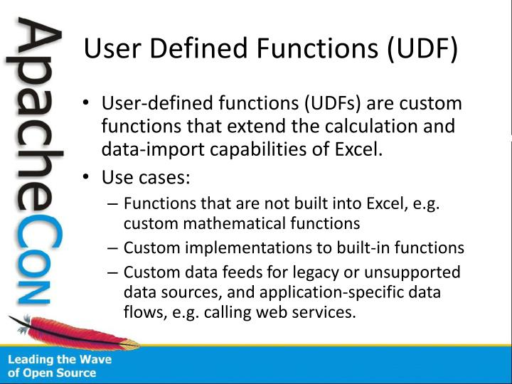 User Defined Functions (UDF)