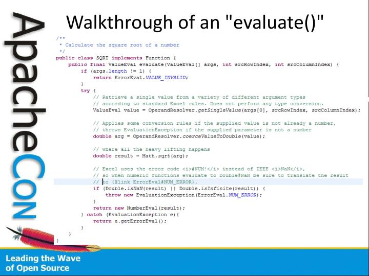 "Walkthrough of an ""evaluate()"" implementation."