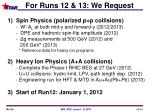 for runs 12 13 we request