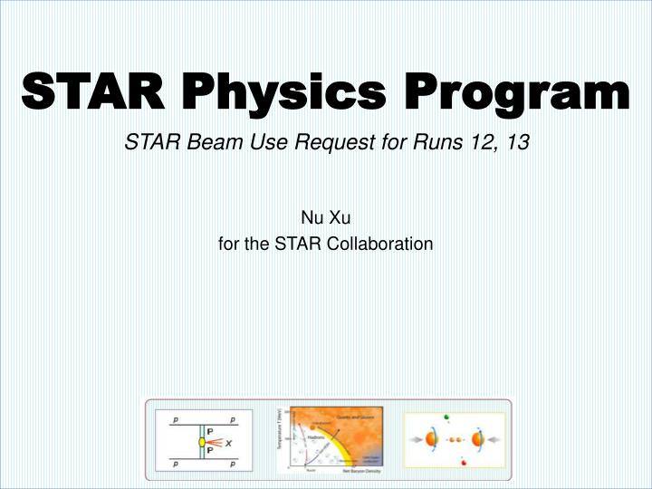 Star physics program star beam use request for runs 12 13 nu xu for the star collaboration