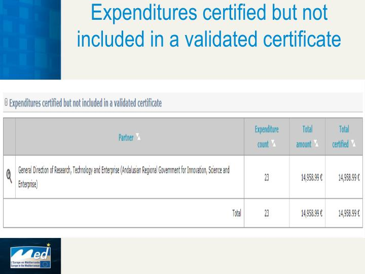 Expenditures certified but not included in a validated certificate