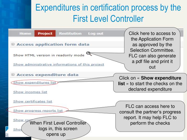 Expenditures in certification process by the