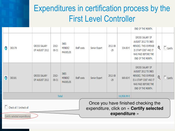 Expenditures in certification process by the First Level Controller