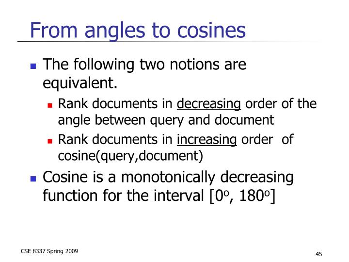 From angles to cosines