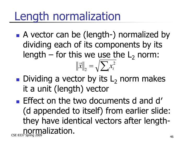 Length normalization