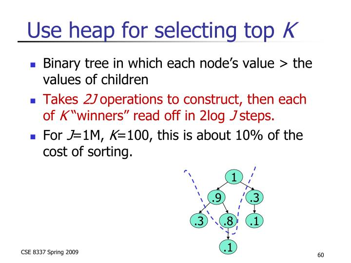 Use heap for selecting top
