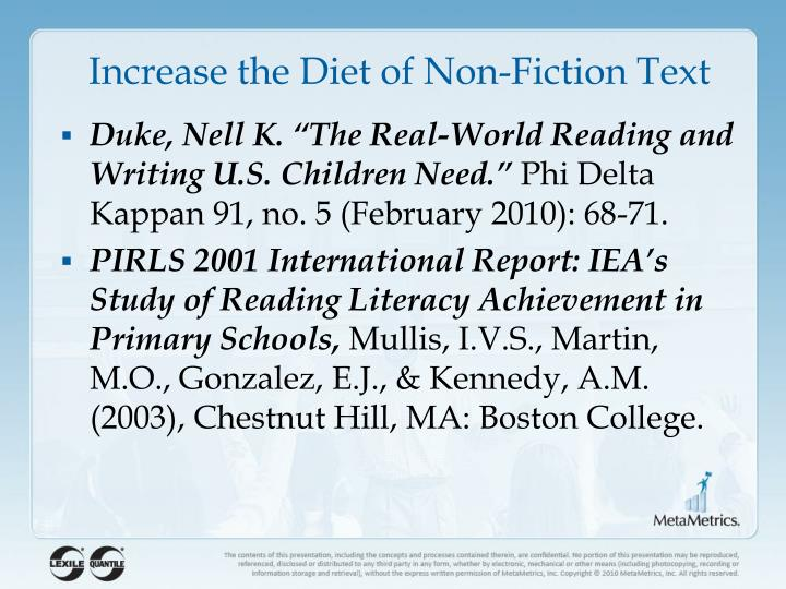 Increase the Diet of Non-Fiction Text