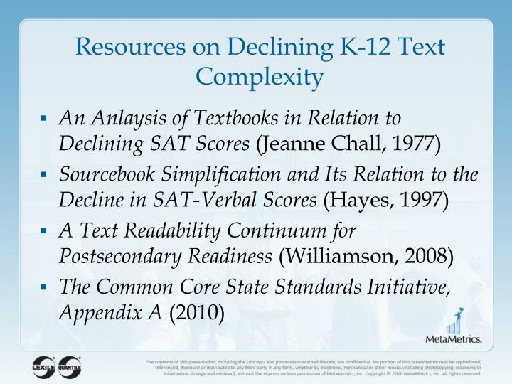 Resources on Declining K-12 Text Complexity