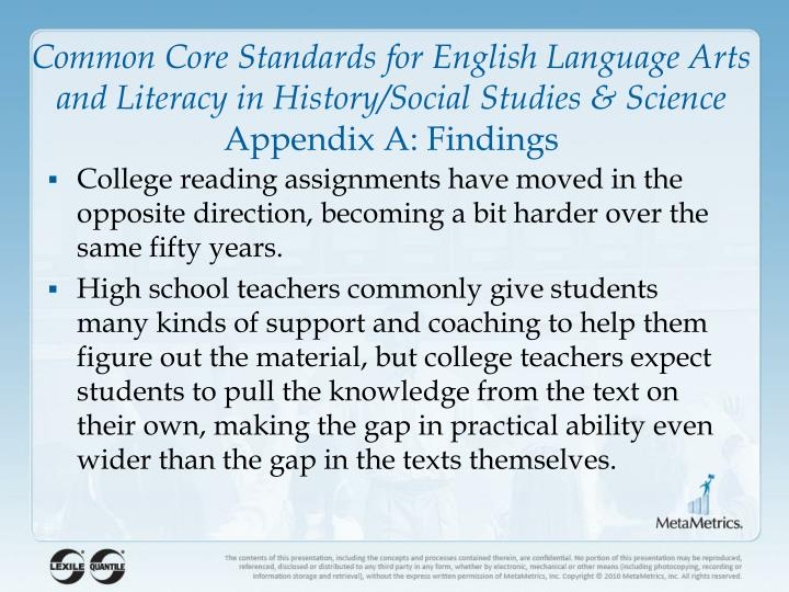 Common Core Standards for English Language Arts and Literacy in History/Social Studies & Science