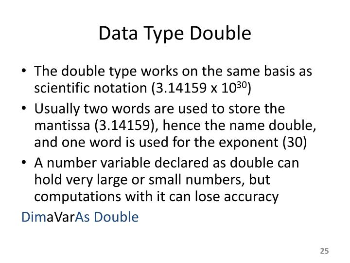 Data Type Double