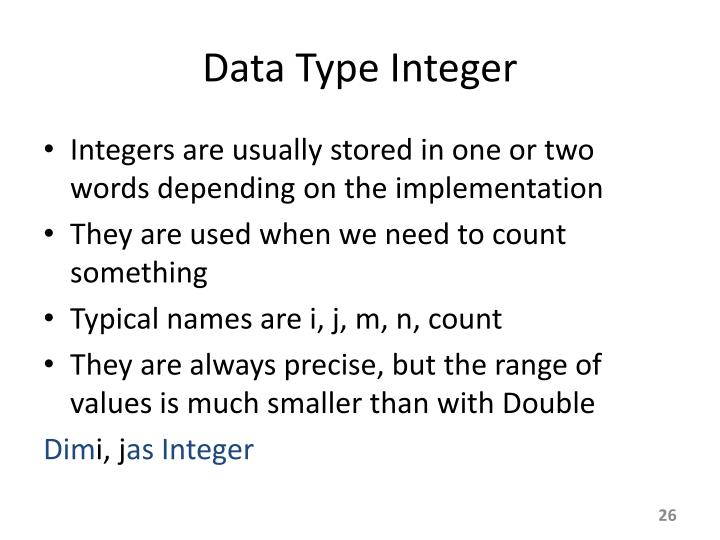 Data Type Integer