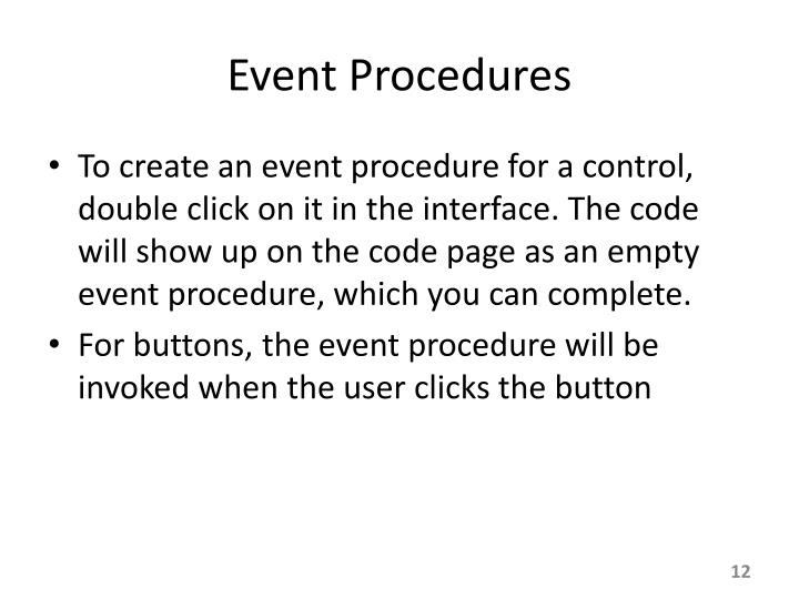 Event Procedures