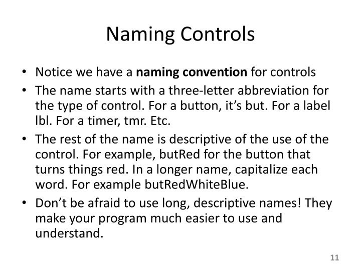 Naming Controls