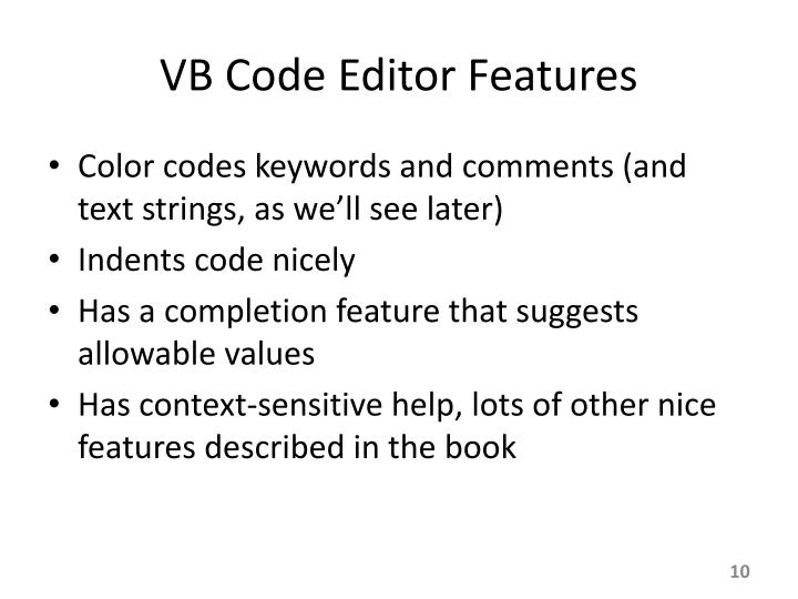 VB Code Editor Features