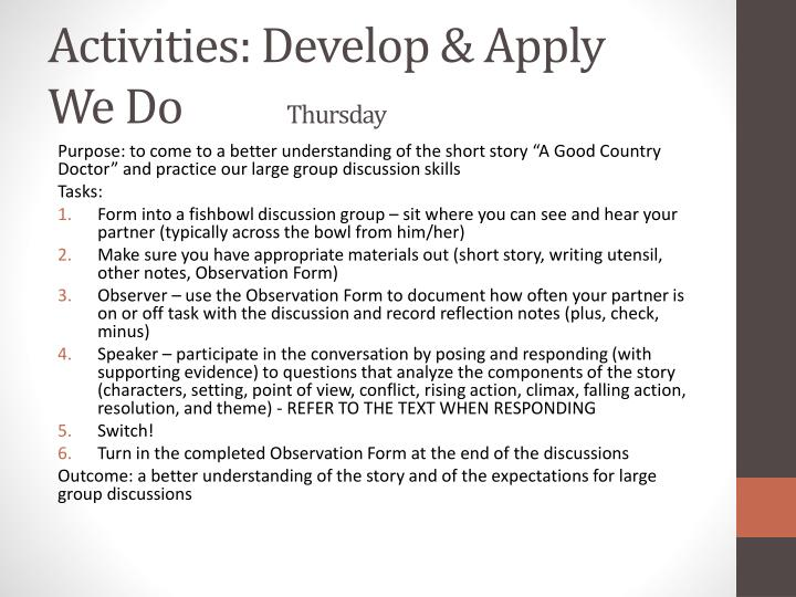Activities: Develop & Apply
