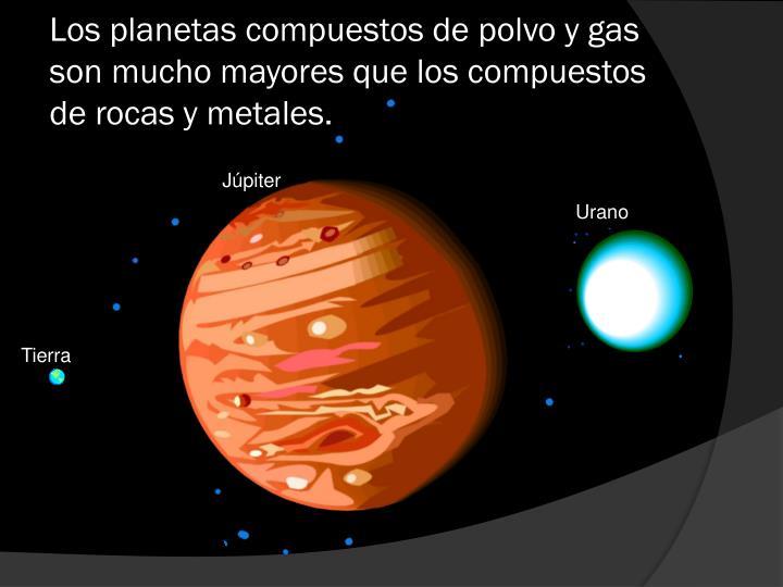 Los planetas compuestos de polvo y gas son mucho mayores que los compuestos de rocas y