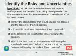 identify the risks and uncertainties1