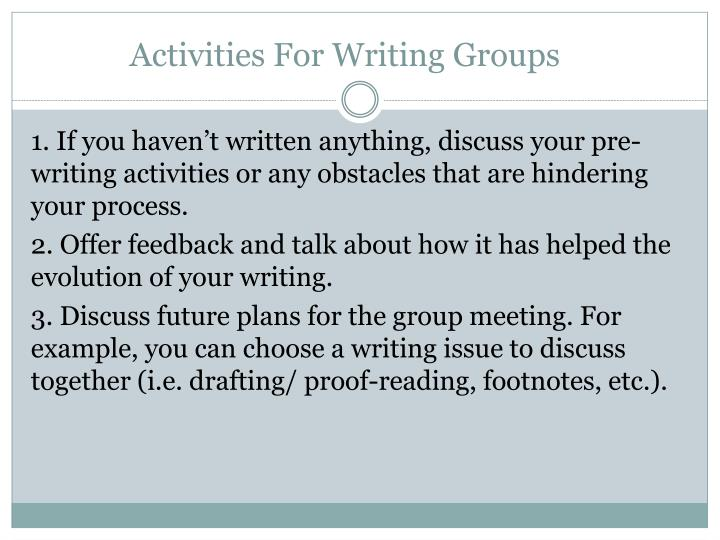 Activities For Writing